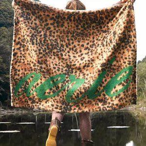 Aerie Leopard Print Soft Faux Fur Throw Blanket
